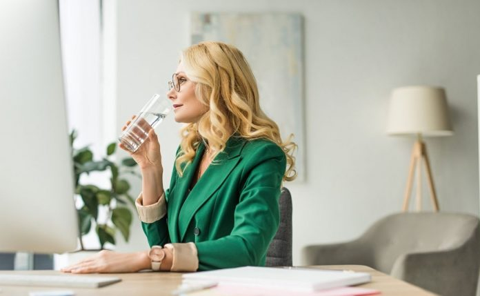 Drinking water to stay hydrated